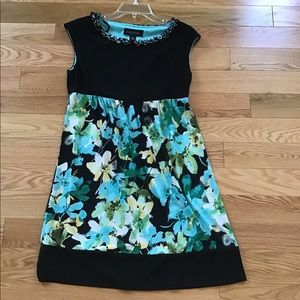 Perceptions flower teal dress